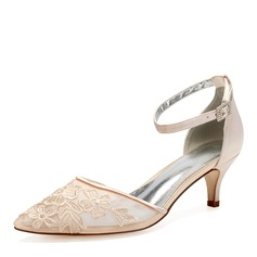 Femmes Dentelle Soie comme du satin Talon kitten Chaussures plates Sandales avec Fleur en satin Une fleur