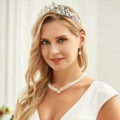 Señoras Elegante Rhinestone/Aleación/La perla de faux Tiaras con Rhinestone/Perla Veneciano