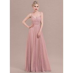 A-Line/Princess Floor-Length Tulle Bridesmaid Dress With Ruffle Appliques Lace