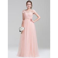 Vestidos princesa/ Formato A Decote redondo Longos Tule Renda Vestido de madrinha com Curvado