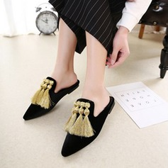 Women's Flat Heel Flats Closed Toe Slingbacks Slippers With Tassel shoes
