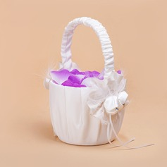 Elegant Flower Basket in Satin With Feather