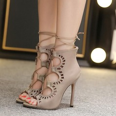 Women's Leatherette Stiletto Heel Boots Peep Toe Ankle Boots With Zipper Lace-up Hollow-out shoes