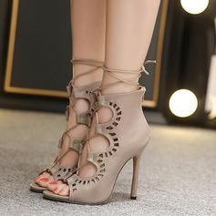 Donna Similpelle Tacco a spillo Stivali Punta aperta Stivali alla caviglia con Cerniera Allacciato Cava-out scarpe