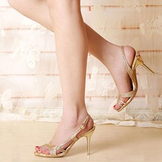 Vrouwen Sprankelende Glitter Stiletto Heel Sandalen Peep Toe Slingbacks met Satijnen Strik Hol-out schoenen