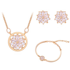 Ladies' Flower Shaped Copper/Zircon Jewelry Sets For Bride/For Bridesmaid/For Mother/For Friends/For Couple