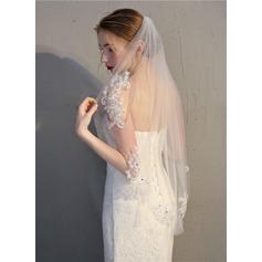 1 couche Bord de coupe Voile de mariée longueur bout des doigts
