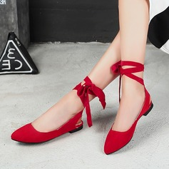 Women's Suede Low Heel Flats Closed Toe With Bowknot Ribbon Tie shoes