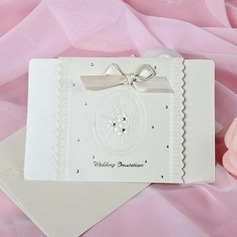 Floral Style Top Fold Invitation Cards With Bows (Set of 50)