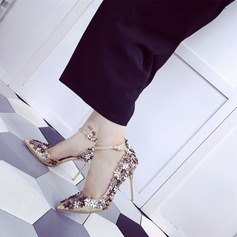Women's PU Stiletto Heel Pumps Closed Toe With Flower shoes