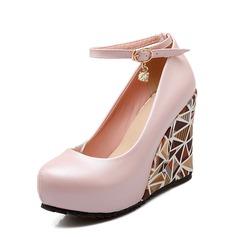 Vrouwen PU Wedge Heel Pumps Plateau Closed Toe Wedges met Gesp schoenen