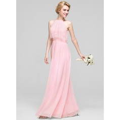 A-Line/Princess Scoop Neck Floor-Length Chiffon Bridesmaid Dress With Ruffle (007090148)
