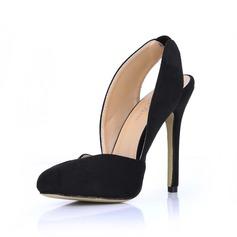 Suede Stiletto Heel Pumps Closed Toe Slingbacks shoes
