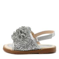 A menina de Peep toe Slingback Glitter espumante Sandálias Sapatas do florista