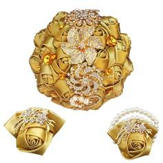 Round Satin/Rhinestone Flower Sets (set of 3) - Wrist Corsage/Boutonniere/Bridal Bouquets