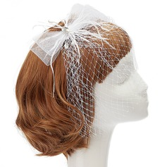 Mode Fil net/Feather Chapeaux de type fascinator avec Strass/Perle Vénitienne