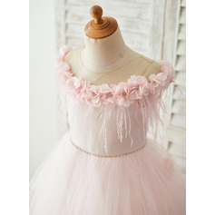A-Line/Princess Sweep Train Flower Girl Dress - Tulle Sleeveless Scoop Neck With Flower(s)