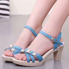Women's PU Chunky Heel Sandals Pumps Platform With Imitation Pearl Chain shoes
