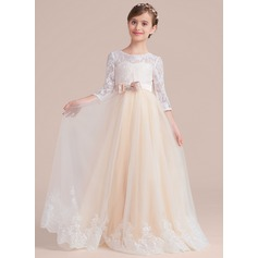 Ball-Gown/Princess Floor-length Flower Girl Dress - Tulle/Charmeuse/Lace 3/4 Sleeves Scoop Neck With Sash/Beading/Bow(s)