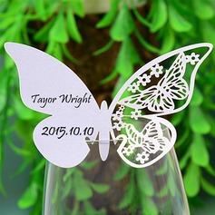 Mariposa diseñan Papel perlado Tarjetas del lugar (juego de 12)