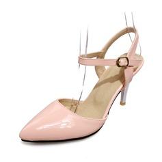Piel brillante Tacón carrete Salón Cerrados con Hebilla zapatos