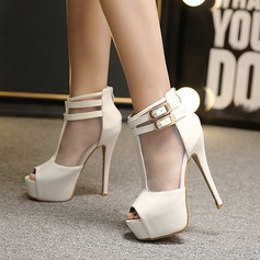 Women's Leatherette Stiletto Heel Boots Peep Toe Ankle Boots With Buckle shoes