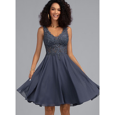 A-Line V-neck Knee-Length Chiffon Cocktail Dress With Beading (016216029)