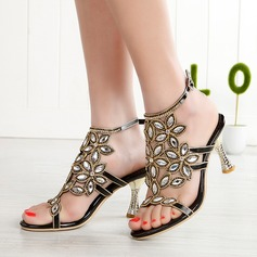 Women's Leatherette Stiletto Heel Peep Toe Pumps Sandals Slingbacks With Buckle Rhinestone (047115667)