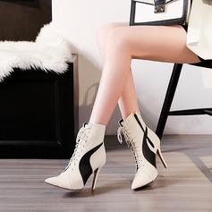 Kvinnor PU Stilettklack Pumps Stövlar med Bandage Split gemensamma skor