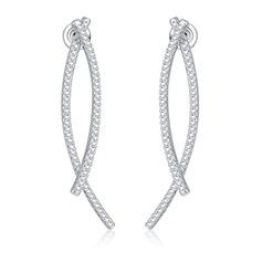 Beau Cuivre/Zircon de/S925 Argent Dames Boucles d'oreilles
