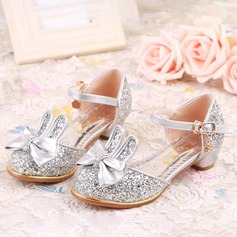 Girl's Leatherette Flat Heel Round Toe Flats With Bowknot Sparkling Glitter