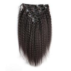 4A Ej remy Kinky Curly människohår Klämma i hårförlängningar 7pcs 100g