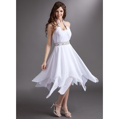 A-Line/Princess Halter Tea-Length Chiffon Homecoming Dress With Ruffle Beading Sequins