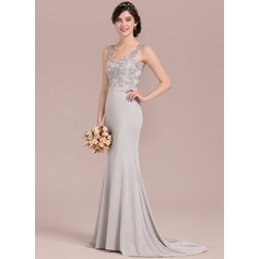 Trumpet/Mermaid Sweetheart Sweep Train Lace Jersey Bridesmaid Dress With Beading Sequins