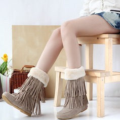 Women's Suede Flat Heel Flats Closed Toe Boots Snow Boots With Tassel shoes