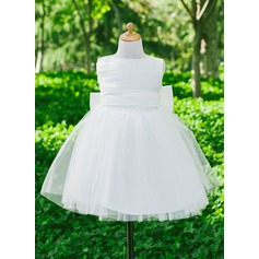 Empírový Flower Girl Dress - Satén Bez rukávů Scoop Neck S Luk