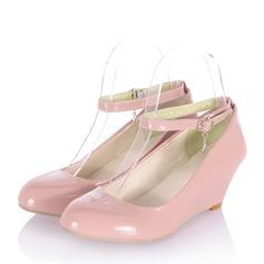 Vrouwen Patent Leather Wedge Heel Wedges met Gesp schoenen