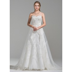 A-Line/Princess Sweetheart Chapel Train Tulle Lace Wedding Dress With Beading Sequins (002075656)