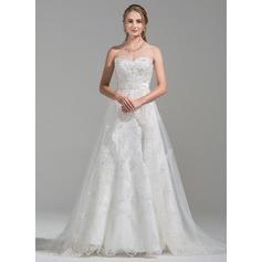 Forme Princesse Amoureux Traîne mi-longue Tulle Dentelle Robe de mariée avec Emperler Paillettes (002075656)