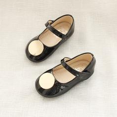Pigens Leatherette Flad Hæl Round Toe Fladsko med Velcro