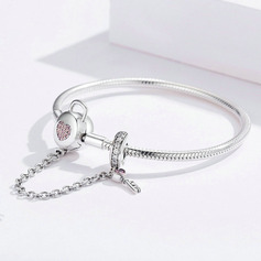 Platinum Plated Bangle Delicate Chain Charm Bracelets Bangles & Cuffs With Heart - Valentines Gifts For Her