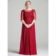 Vestidos princesa/ Formato A Decote redondo Longos Tecido de seda Renda Vestido para a mãe da noiva com Pregueado Beading