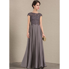 A-Line/Princess Scoop Neck Floor-Length Chiffon Lace Evening Dress With Beading (017164941)
