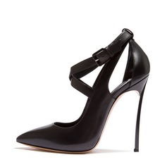 Women's Real Leather Stiletto Heel Pumps Closed Toe With Buckle shoes