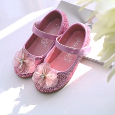 Girl's Round Toe Closed Toe Leatherette Sparkling Glitter Flat Heel Flats Flower Girl Shoes With Stitching Lace Velcro