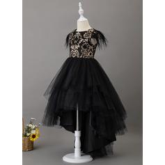 Corte De Baile/Princesa Asimétrico Vestidos de Niña Florista - Tul Manga corta Escote redondo con Encaje/Pluma