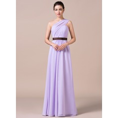 A-Line/Princess One-Shoulder Floor-Length Chiffon Bridesmaid Dress With Ruffle Sash