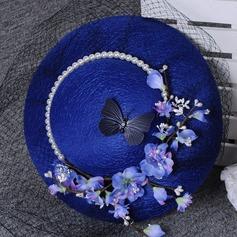 Senhoras Lindo Poliéster com Flor De disquetes Chapéu