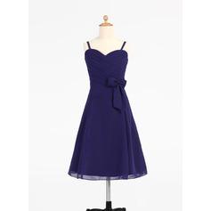 Forme Princesse Bustier en coeur Longueur genou Mousseline Robe de demoiselle d'honneur - junior avec Plissé À ruban(s) (009000697)
