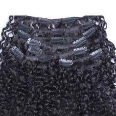 4A Nicht remy Kinky Curly Menschliches Haar Haarverlängerungen zum Anklammern (Einzelstück verkauft) 100g